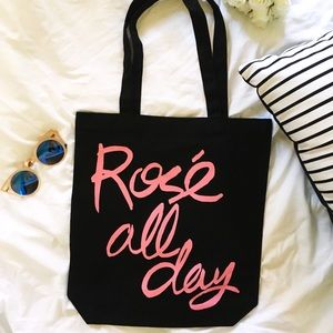 Handbags - Rose All Day Black Canvas Tote